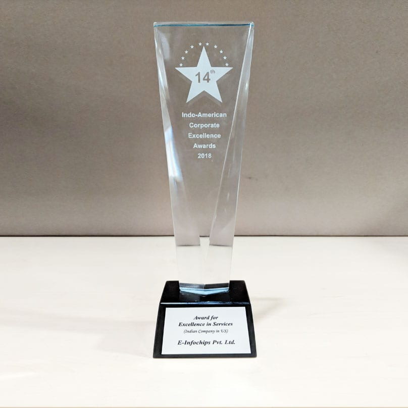 eInfochips recognized with the Services Excellence Award by the Indo American Chamber of Commerce.