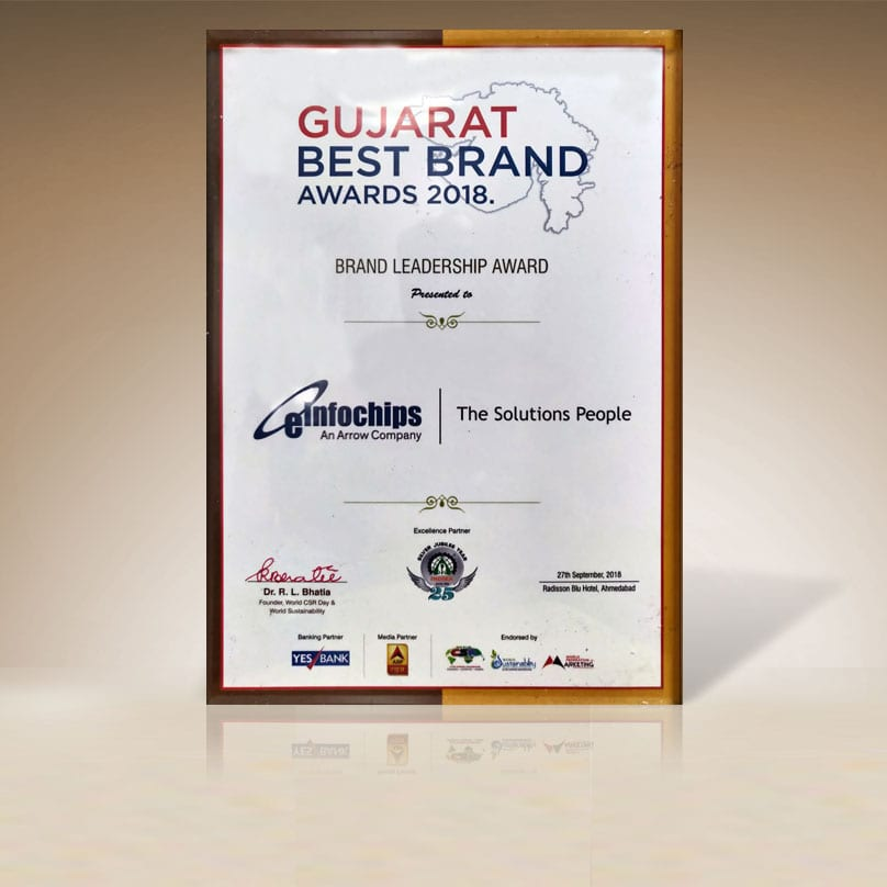 eInfochips awarded the Brand Leadership Award (Gujarat Best Brand Awards) by the CMO Asia organization and ABP