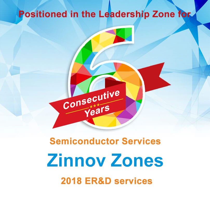 eInfochips Positioned in the Leadership Zone for the 6th Consecutive Year for Semiconductor Services in Zinnov Zones 2018 ER&D services.