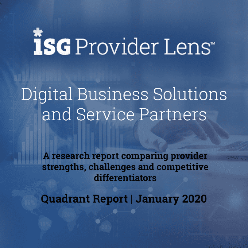 eInfochips, an Arrow Electronics company featured as a leading service provider in the ISG Provider Lens™ – Digital Business Solutions and Service Partners Quadrant report for 2019